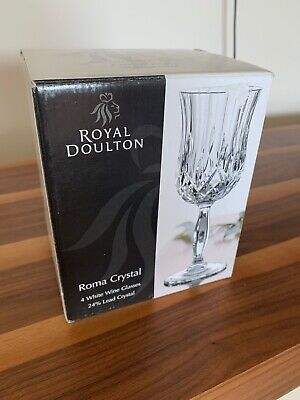 Royal Doulton Roma Crystal X 4 White Wine Glasses 24% Lead Crystal • 25£