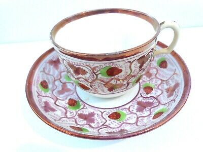 A Lustre Ware Cup And Saucer In The Bute Shape And Strawberry Pattern • 10£