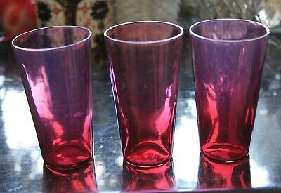 3 X Antique Red Cranberry Tumblers / Beakers 10cms • 21.99£