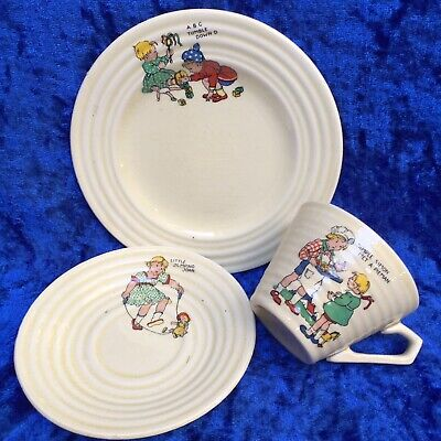 Vintage 1930's Art Deco, 'Children Nursery Rhymes' Cup, Saucer & Side Plate Trio • 6.99£