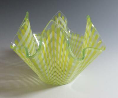 Retro 1970's Chance Glass Yellow Gingham Handkerchief Vase • 24£