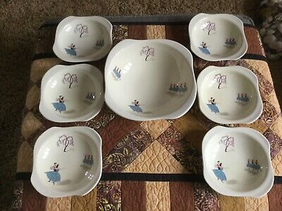Vintage 1950 Beswick  Bowls And Serving Bowl Ballet Design • 25£
