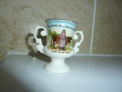 Gemma China 6.3cm Two Handled Trophy Vase-jersey Milk Maid & Cow Pictorial Image • 15£