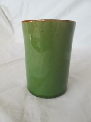 Nice Old Art Pottery / Devon Ware Green Glazed Vase Craquelure Effect A&C Style • 12£