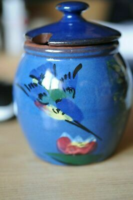 Torquay Ware Lidded Pot In Blue With Kingfisher Design • 28£