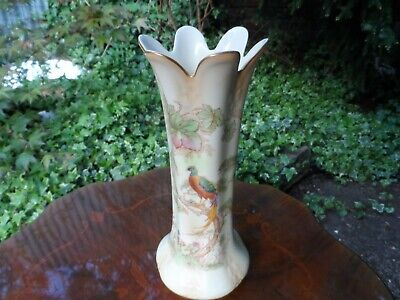 Vintage Crown Ducal Ware Vase WITH PEACOCK PATTERN • 12£