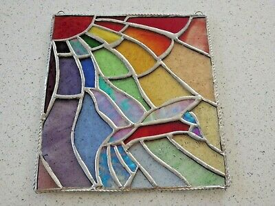 Stained Glass Leaded Panel - Hummingbird 7  X 8  With Hanging Hooks - Large • 34.99£