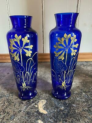 Pair Of Victorian COBALT BLUE GLASS VASES With Enamelled Hand Painted Detail • 20£
