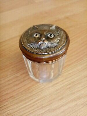 Antique Rare Cut Glass Dresser Jar With Brass Lid Cat With Glass Eyes • 80£