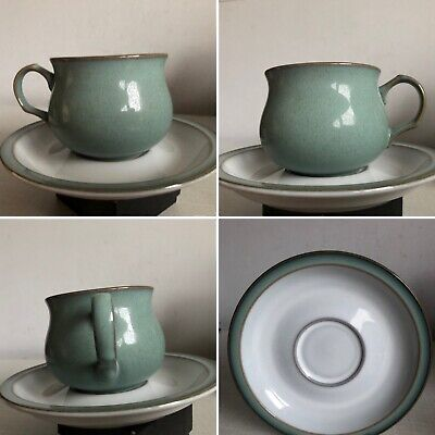 Vintage Denby Pottery Regency Green Tea Cup And Saucer Set Barely Used • 5.50£