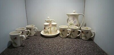 Small Collection Of Vintage Kernewek Coffee Pot Cups & Cruet Set White Floral • 12.99£