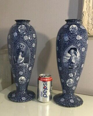 Pair Of Vintage S Hancocks And Sons Britannia Ware Blue And White Vases • 39.99£