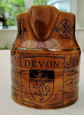 Vintage 1956 Lord Nelson Ware Pottery Jug With Devon Crest And Map • 9.50£