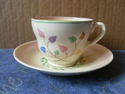 Clarice Cliff Hand Painted Cup And Saucer Newport Pottery Leaves Pink Pastels • 14.99£