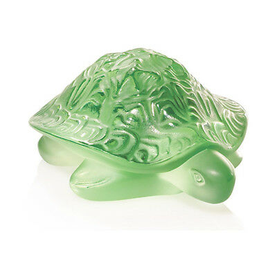 GENUINE LALIQUE Sidonie Turtle Green Crystal Sculpture (1214500) • 160£