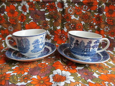 Early Johnson Brothers Willow Blue Demitasse Coffee Cups & Saucers 100ml Small • 18£
