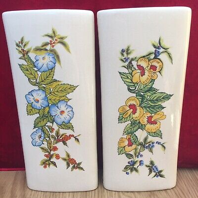 Pair Of Vintage/Retro 1970's Staffordshire Floral 9.25'' Wall Pocket Vases VGC • 12.99£