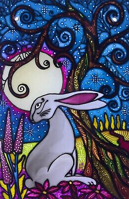 Moon Gazing Hare Hand Painted Stained Glass Style Panels And  Splashbacks • 40£