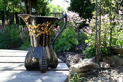 Price KENSINGTON WARE Sunflower Jug/vase Black & Gold APPROX. 9 INCHES • 9.99£