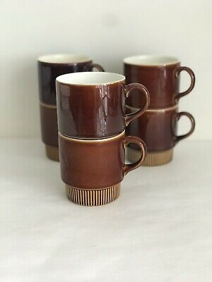 Vintage 6 Poole Pottery Brown Stackable Coffee Cups Made In England🇬🇧 • 11.99£