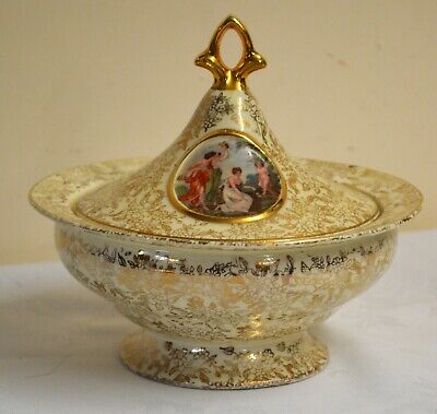 EMPIRE Centrepiece Lidded Urn England Gold  Ivory Chintz Ladies Couples 6  Tall • 25£