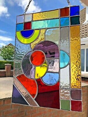 Stained Glass Original Abstract Vibrant-Coloured Panel Gift/Home Decor  • 46£