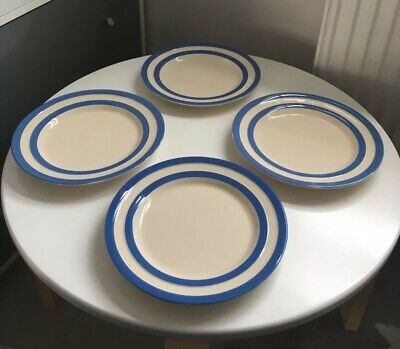 Cornish Blue Pottery Banded Breakfast Plates X 4 T. G Green • 21£