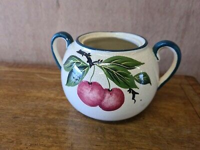 Antique Wemyss Pottery 2 Handled Bowl Painted With Cherries And Foliage • 20£