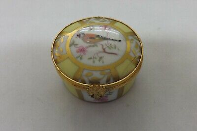 Damaged Limoges France Hand Painted Pill Box Peint Main A Song Bird 5cms (1912) • 14.99£