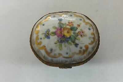 Limoges France Hand Painted Pill Box Flower Design 6cms (1915) • 29.99£