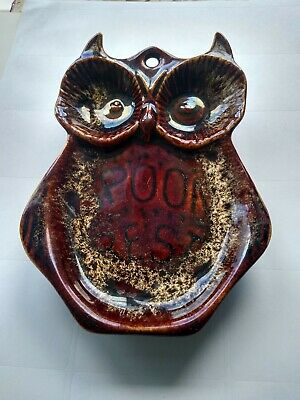 Fosters Pottery Antique Brown Owl Spoon Rest, Brown Honeycomb Glaze • 6.50£