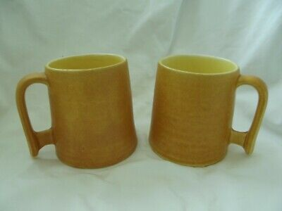 BRETBY ART POTTERY   2 YELLOW MUGS With Applied Angular Handles No. 3520 On Base • 14.99£