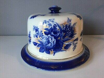 Antique Burleigh Ware Flow Blue And White Pottery Cheese Dome/Dish • 40£