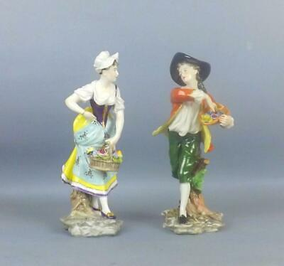 Antique Porcelain Dresden German Young Pare Of Figurines By Volkstedt • 12.50£