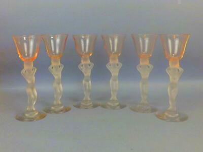 Antique Art Deco French Glass Set Of 6 Glasses In Shape Of Nude Girl Circa 1930 • 22£