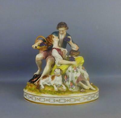 Antique LARGE Porcelain German Volkstedt Dresden Figurine Of Young Couple • 14.50£