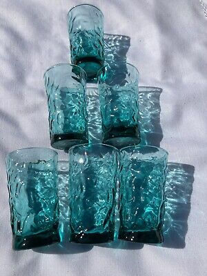 "Mid Century Textured Glass Juice Tumblers - Height  3.75"" - Set Of 6 • 18£"