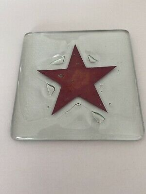 Jo Downs Glass Red Star Coaster • 5£