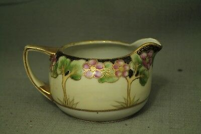 Antique Old Creamer Pitcher Pink Green Flowers Raised Gold Trim Moriage • 24.21£