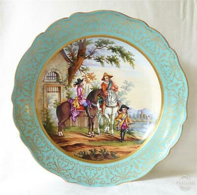 VERY LARGE ANTIQUE MID 19TH CENTURY MEISSEN HAND PAINTED CHARGER PLATE 34cms • 32£