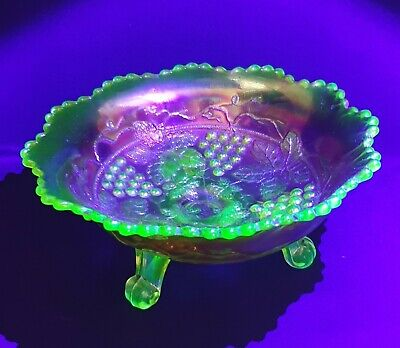 Marigold Carnival Glass Grape & Cable Bowl With Uranium Glass Feet • 28.95£