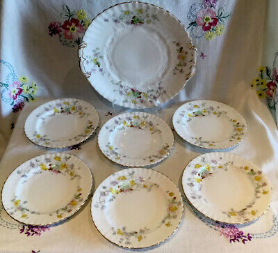 *6 Pretty Vintage Ditsy Floral Tea Set Side Tea Plates With Cake Serving Plate* • 14.99£