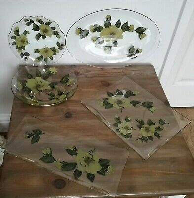 Vintage Chance Glass Set Oval Serving Bowl Plate 5 Pces Yellow Green Floral • 29.99£