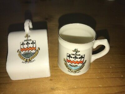 Crested China - Southport - Cheese Cover & Tankard • 1.99£