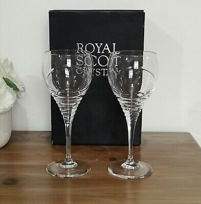 Royal Scot Crystal - Lovely Pair Of Large Wine Glasses Saturn Design - Boxed • 24.99£