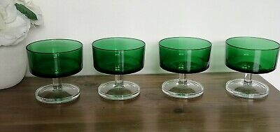 4  French Vintage Green Sundae Bowls Glasses Clear Base  • 15.99£