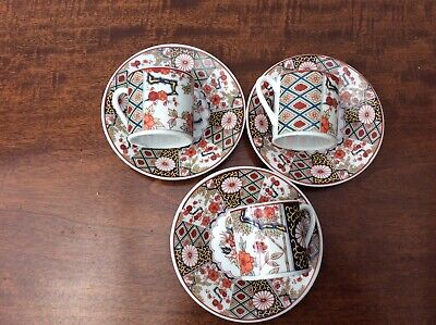 3 Vintage Japanese Cups And Saucers Coffee Size Beautiful Design & Condition • 4£