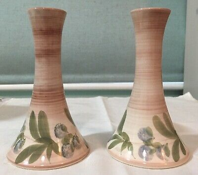 Pair Of Vintage Jersey Pottery Handpainted Stem Bud Vases • 9.99£