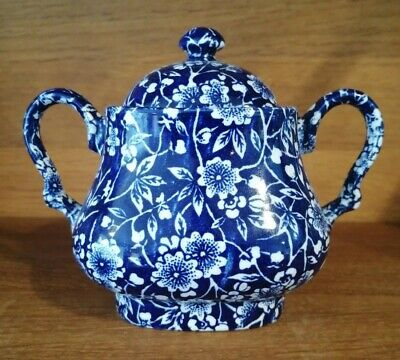 Queens Pottery Blue Chintz Twin Handle Lidded Sugar Bowl • 16£