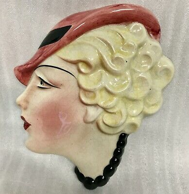 STUNNING HANGING ORIGINAL Art Deco FACE WALL MASK COPE & CO 1930S • 0.99£